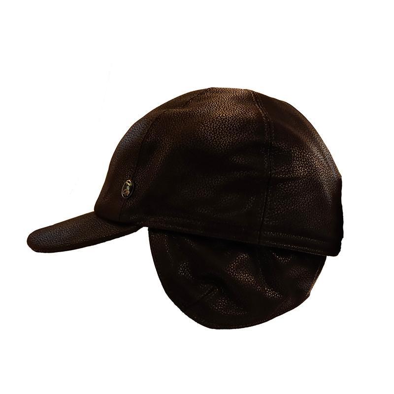 Gorra de béisbol cuero impermeable orejera negro 46fd36a1fb0